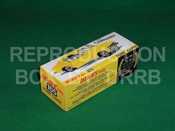 Dinky #165 Ford Capri - Reproduction Box (  Yellow finish )